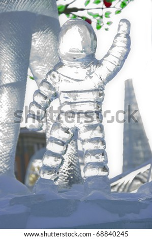 YEKATERINBURG - JANUARY 6: Competition ice sculptures, works of the best sculptors of the Ural ranked prizes january 6, 2011 in Yekaterinburg, Russia - stock photo