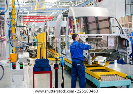 """Yelabuga, Russia - May 12, 2014: assembly line vehicles Ford Sollers plant in the special economic zone """"Alabuga"""" - stock photo"""