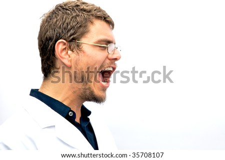 Yelling scientist student with eyeglasse on and short hair - stock photo
