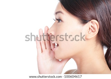 Yelling woman mouth close up isolated on white background, model is a asian beauty - stock photo