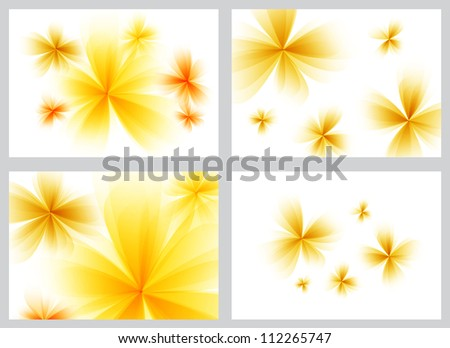 Yellow abstract floral backgrounds set - raster version - stock photo