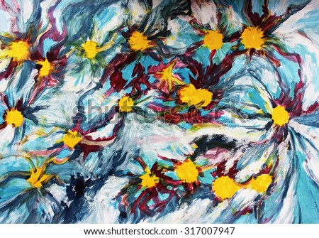 Yellow abstract flowers, Blue abstract background, Stars and flowers, Creative background, Postcard background, Creative thinking, Interesting abstract flowers or Abstract background, Art therapy - stock photo