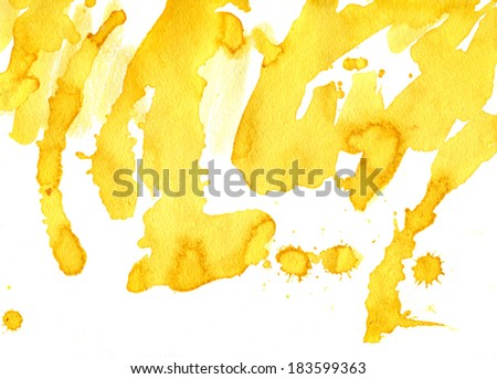 Yellow Abstract Painted Background. Watercolor illustration. - stock photo
