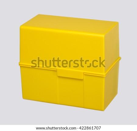 yellow address storage box in grey back - stock photo