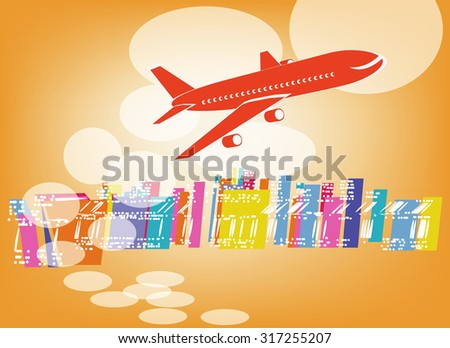 yellow airplane - stock photo
