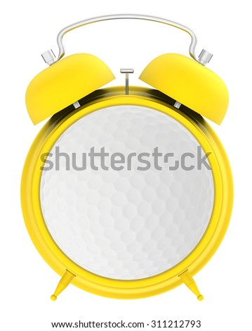 Yellow alarm clock and a golf ball in the middle of the dial - stock photo