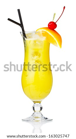 Yellow alcohol cocktail with berries and orange slice isolated on white background  - stock photo
