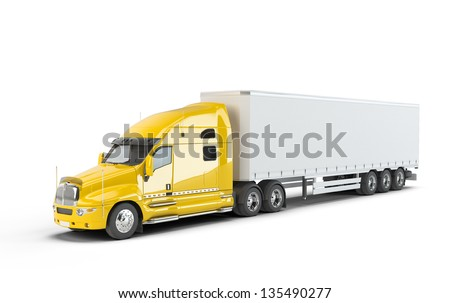 Yellow american truck isolated on white - stock photo