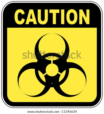 yellow and black biohazard warning sign - stock photo