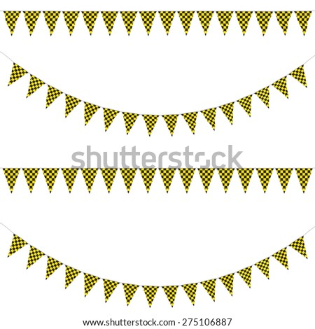 Yellow and Black Checkered Bunting Collection: 3D reflection and flat orthographic textures - stock photo