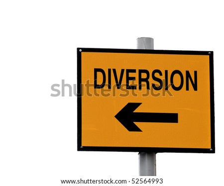 Yellow and black diversion sign isolated on white - stock photo