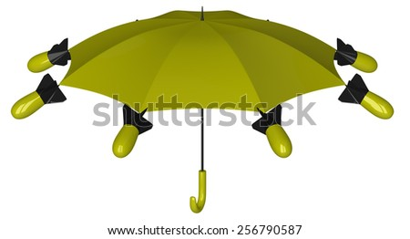 Yellow and black nuclear umbrella with aerial bombs isolated on white background - stock photo