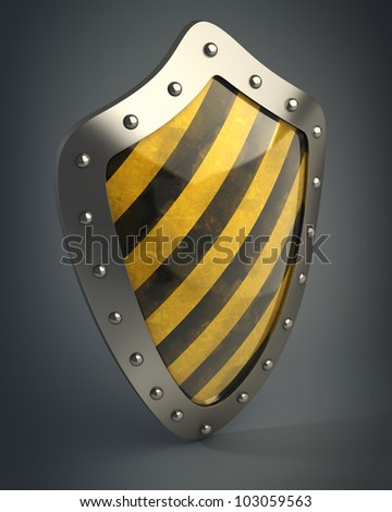 Yellow and black shield 3d high resolution - stock photo