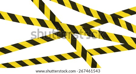 Yellow and Black Striped Hazard Tape Background - stock photo