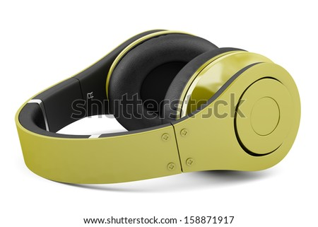 yellow and black wireless headphones isolated on white background - stock photo