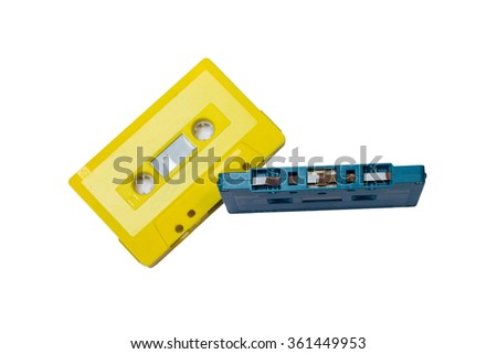 yellow and blue color of tape cassettes - stock photo