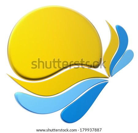 yellow and blue form with stylized shapes - stock photo