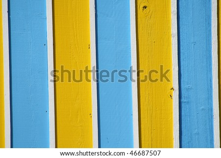 Yellow and blue wall in Tampa Bay Florida area - stock photo