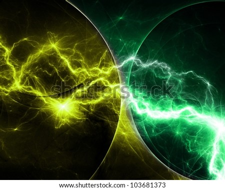 Yellow and cyan abstract lightning - stock photo