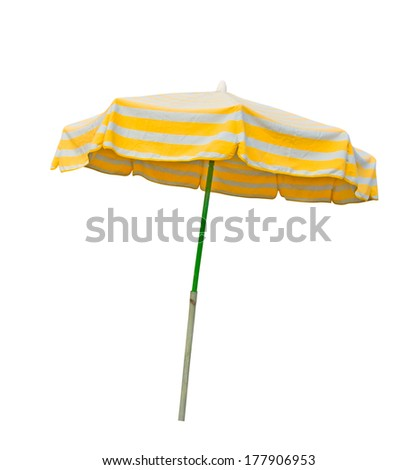 Yellow and gray striped beach umbrella isolated on white with clipping path - stock photo