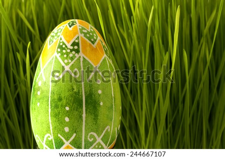 Yellow and green egg - stock photo