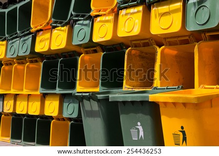 yellow and green garbage clean and dry - stock photo