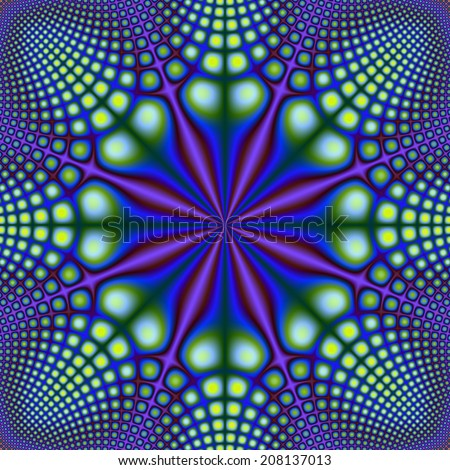 Yellow and Green Spots on Blue and Purple / A digital abstract fractal image with a yellow and green spotted pattern on a blue and purple matrix. - stock photo