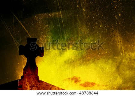 Yellow and Green Textured Cross - stock photo