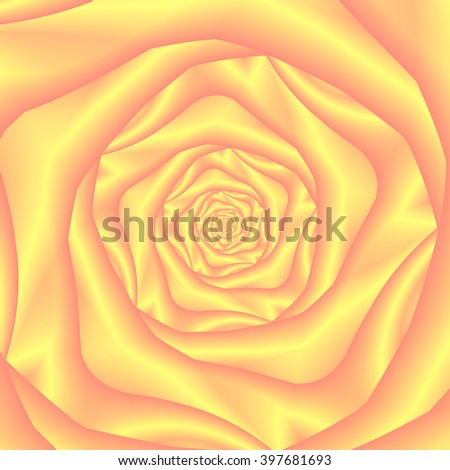 Yellow and Pink Spiral Rose / An abstract fractal image with a rose spiral design in yellow and pink. - stock photo