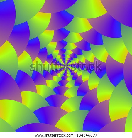 Yellow and Purple Spiral / Digital abstract fractal image with a spiral design in yellow, purple, blue and green. - stock photo