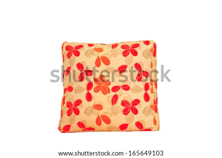 Yellow and red flowers shape pillow isolated on white background - stock photo