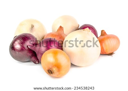 Yellow and red onion isolated on white background. - stock photo