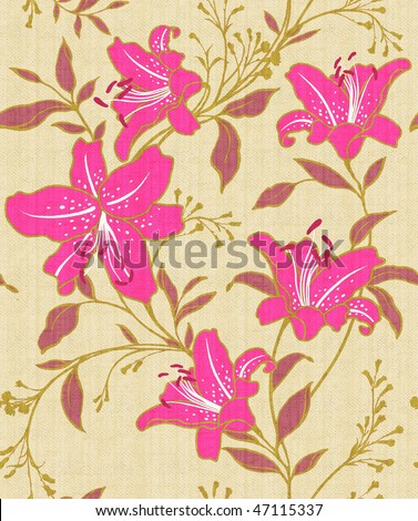 yellow and red Retro floral seamless background - stock photo