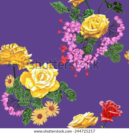 Yellow and red rose and daisy on a purple background seamless pattern - stock photo