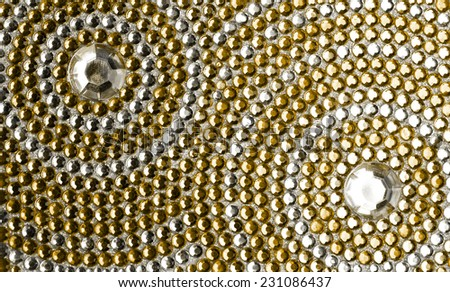 yellow and silver texture with crystals  - stock photo