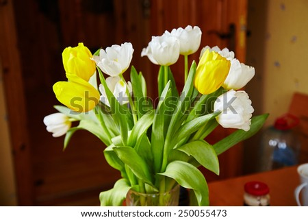 Yellow and white tulips. LOve. Flowers with love. Gift.  - stock photo