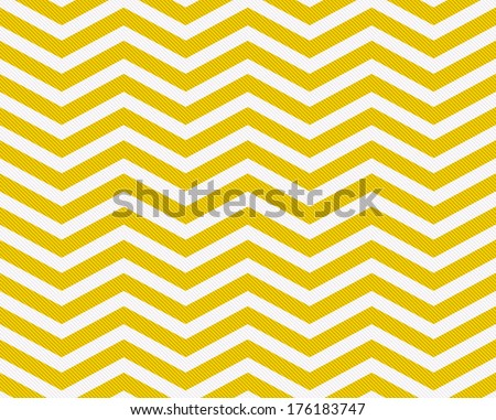 Yellow and White Zigzag Textured Fabric Background that is seamless and repeats - stock photo