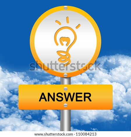 Yellow Answer Street Sign and Light Bulb Sign in Blue Sky Background - stock photo