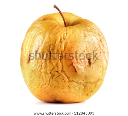 Yellow apple as problem skin concept, isolated on white - stock photo