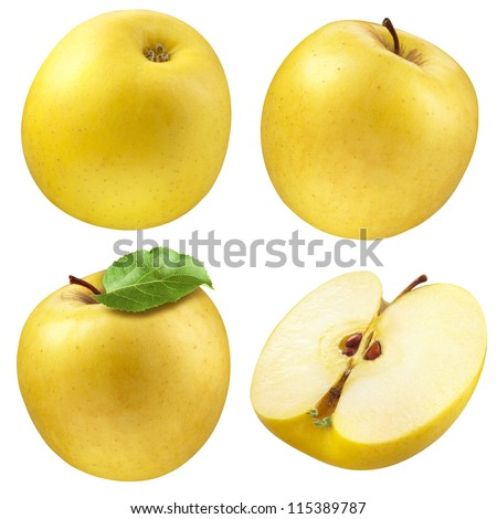 Yellow apple. collection. set of fruits and leaf isolated on white - stock photo