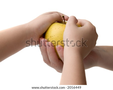 Yellow apple in hand isolated on white - stock photo