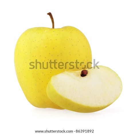 Yellow apple with half isolated on white - stock photo