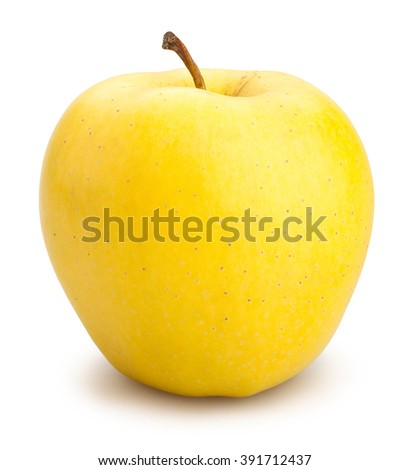 yellow apples isolated - stock photo
