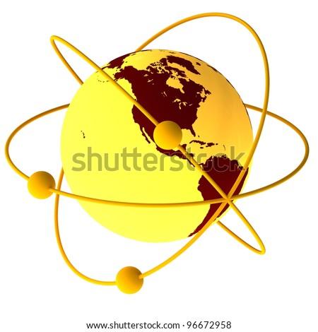 Yellow atom symbol with a globe - stock photo