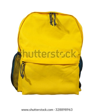 Yellow backpack, School bag, Isolated on white background. - stock photo