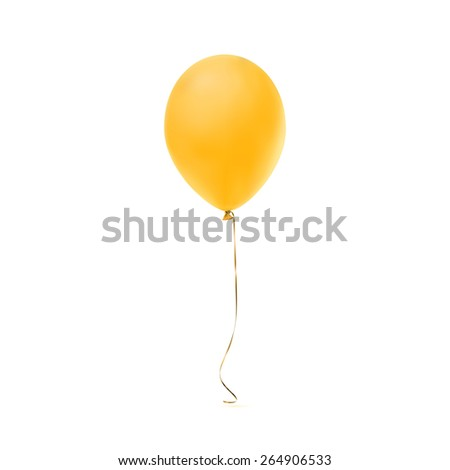Yellow balloon icon isolated on white background. - stock photo