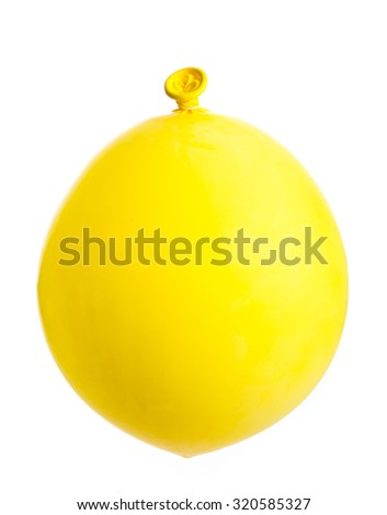 Yellow balloon inflated isolated on white background - stock photo