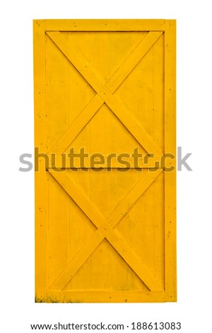 Yellow barn door isolated on white background - stock photo