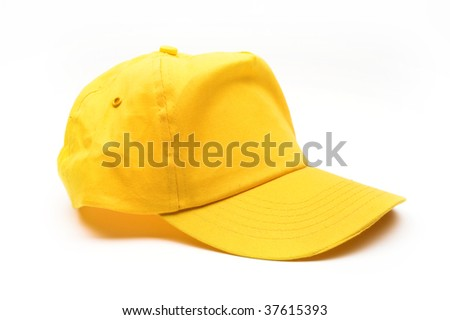 Yellow baseball cap over white - stock photo