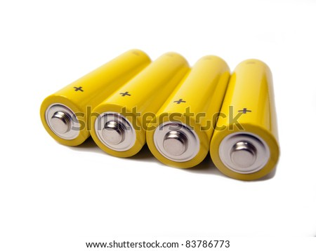 Yellow Batteries - stock photo